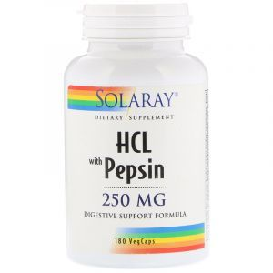 Бетаин HCl + пепсин, HCL with Pepsin, Solaray, 250 мг, 180 капсул