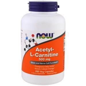 Ацетил карнитин, Acetyl-L Carnitine, Now Foods, 500 мг, 200 кап