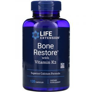 Восстановление костей + К2, Bone Restore, Life Extension, 120 капсул