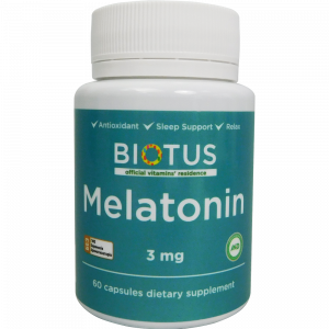 Мелатонин, Melatonin, Biotus, 3 мг, 60 капсул