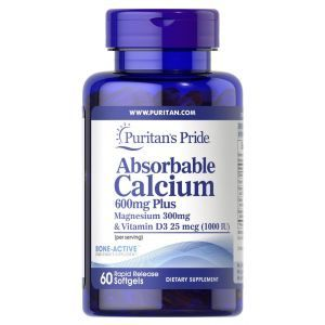 Кальций плюс магний и витамин Д3, Absorbable Calcium plus Magnesium with Vitamin D3, Puritan's Pride, 600 мг/300 мг/1000 МЕ, 60 гелевых капсул